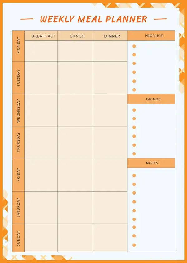 weekly meal template