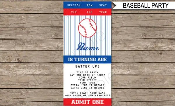 7+ Baseball Ticket Templates - Free PSD, AI, Vector EPS Format - admit one ticket template