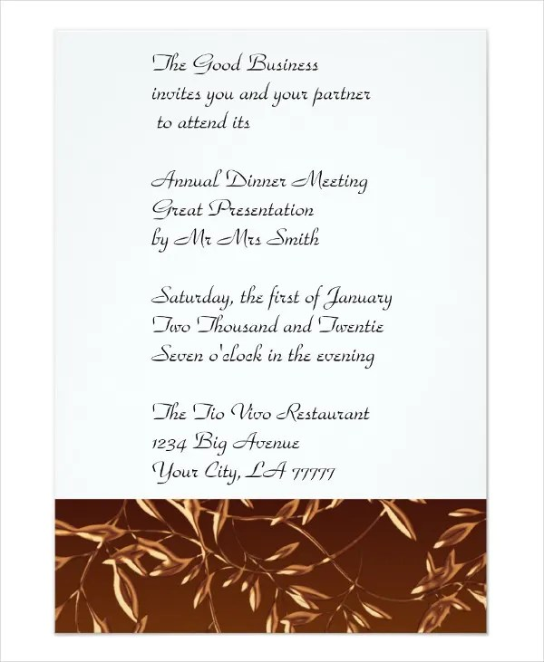 Business Dinner Invitation Template \u2013 orderecigsjuiceinfo