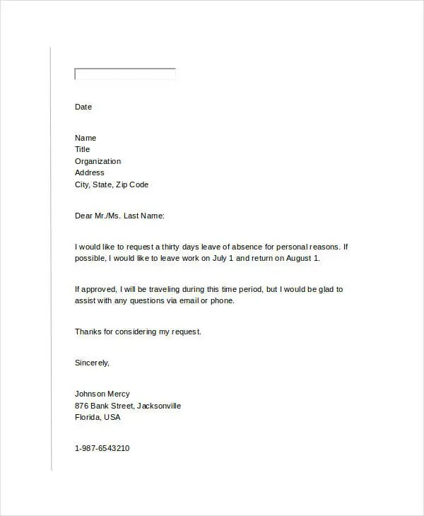 letter format for leave request best leave request letter sample