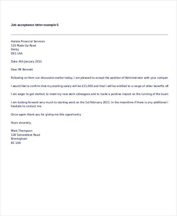 job offer letter acceptance reply - Selol-ink