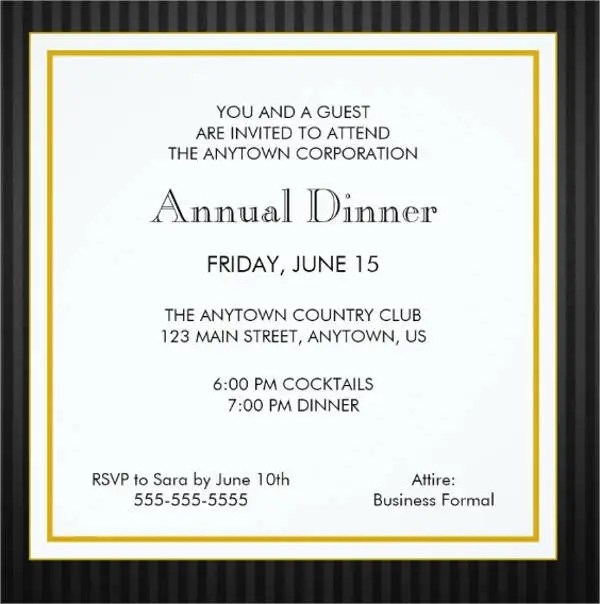 8+ Formal Dinner Invitation - Free Sample, Example, Format - dinner invitation template