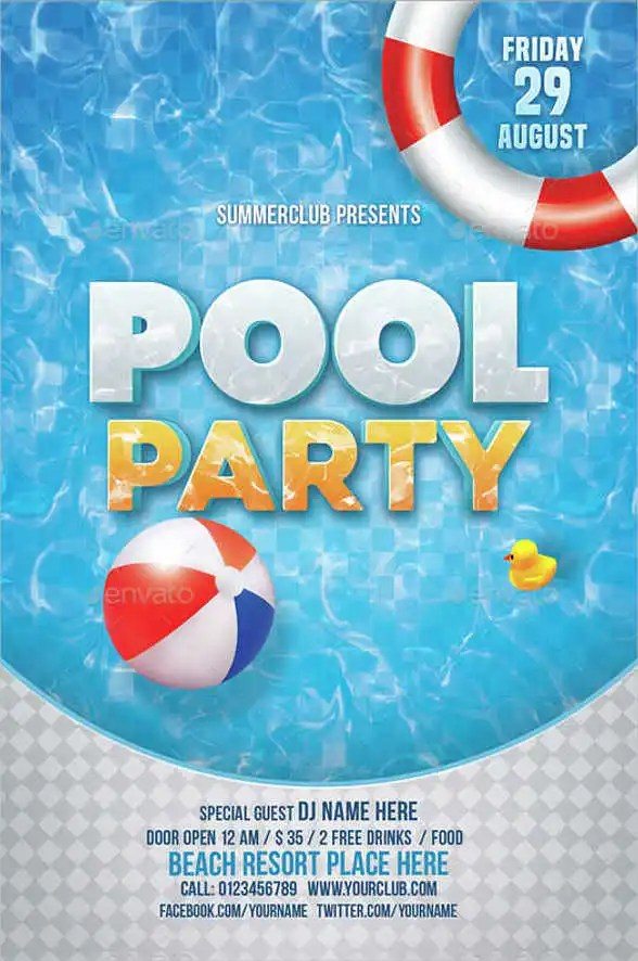 Pool Party Invitation Templates Free Printable \u2013 diabetesmanginfo