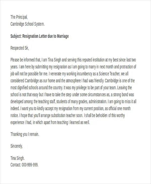 Teacher Resignation Letter Format Pdf  Resume For Accounting Job