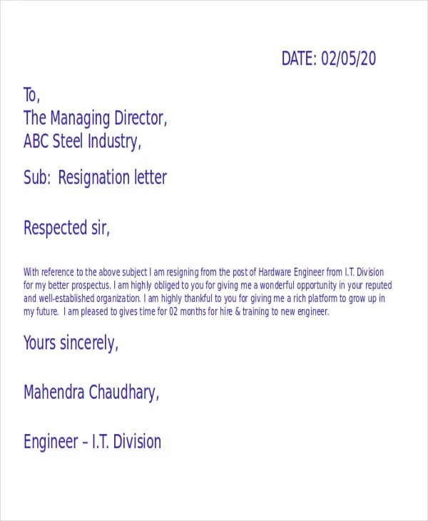 formats of resignation letters