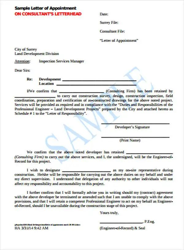 sample letter of appointment letter