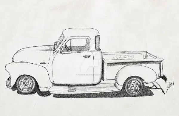 1950 chevy truck drawing