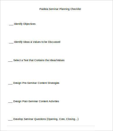 Seminar Checklist Template - 7+ Free Sample, Example, Format - seminar planning template