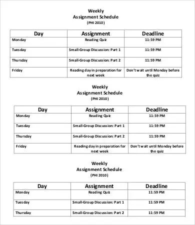 assignment schedule template - Intoanysearch