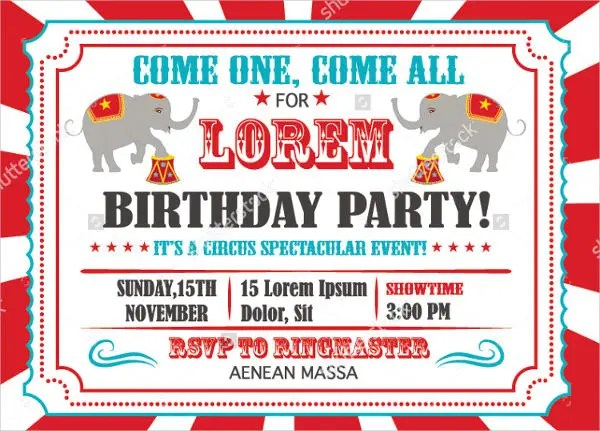 9+ Circus Invitation Templates - Free Editable PSD, AI, Vector EPS - circus party invitation