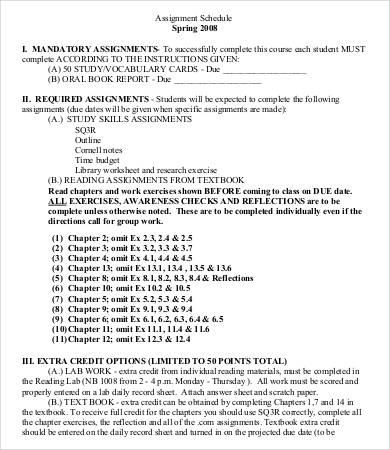 assignment sheet template