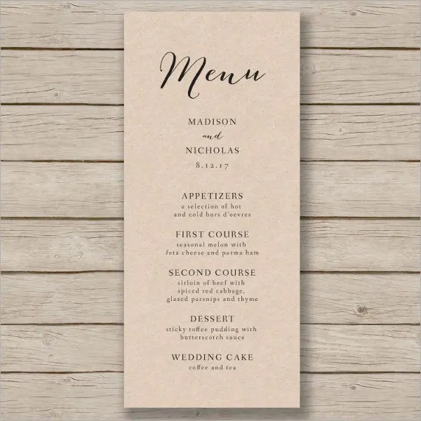 Awesome Wedding Menu Templates Free Gallery - Styles  Ideas 2018