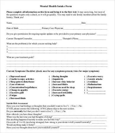 Intake Form Template - 10+ Free PDF Documents Download Free