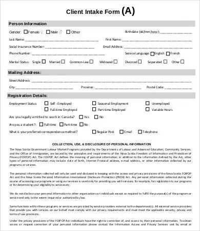 Intake Form Template - 10+ Free PDF Documents Download Free - client information form template