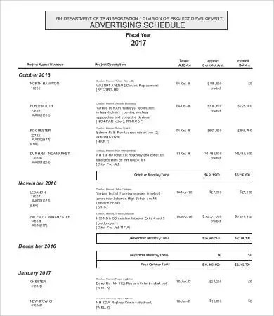 Yearly Schedule Template - 7+ Free Word, Excel, PDF Format Download