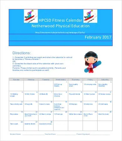 Fitness Calendar Template - 9+Free PDF Documents Download Free - calendar template for website