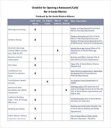 Restaurant Checklist Template - 12+ Free Word, Excel, PDF Documents - restaurant checklist template