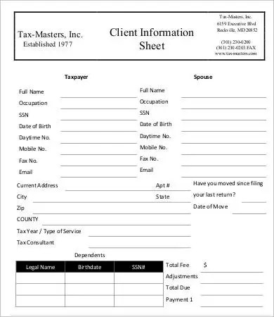 printable customer information form - Boatjeremyeaton