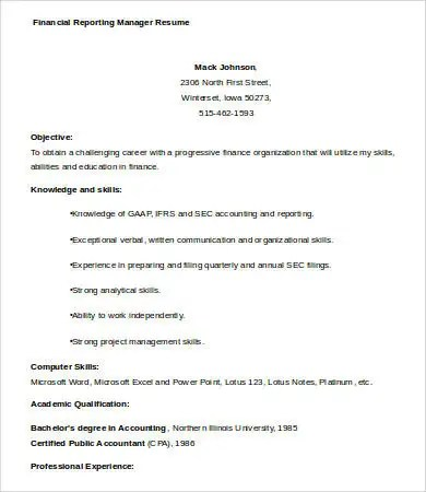 9+ Financial Manager Resume Templates - PDF, DOC Free  Premium
