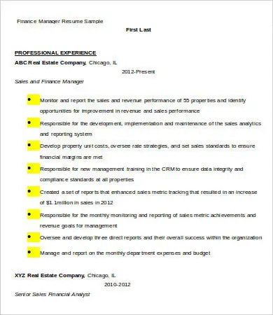 9+ Financial Manager Resume Templates - PDF, DOC Free  Premium - finance manager resume sample