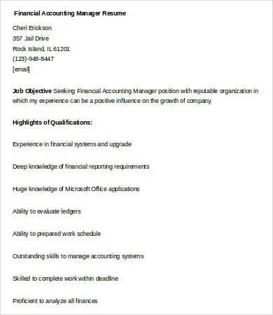 9+ Financial Manager Resume Templates - PDF, DOC Free  Premium