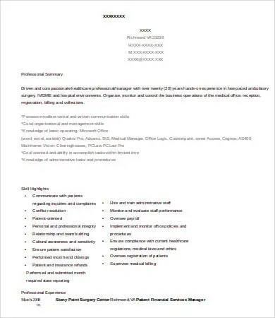 12+ Financial Manager Resume Templates - PDF, DOC Free  Premium