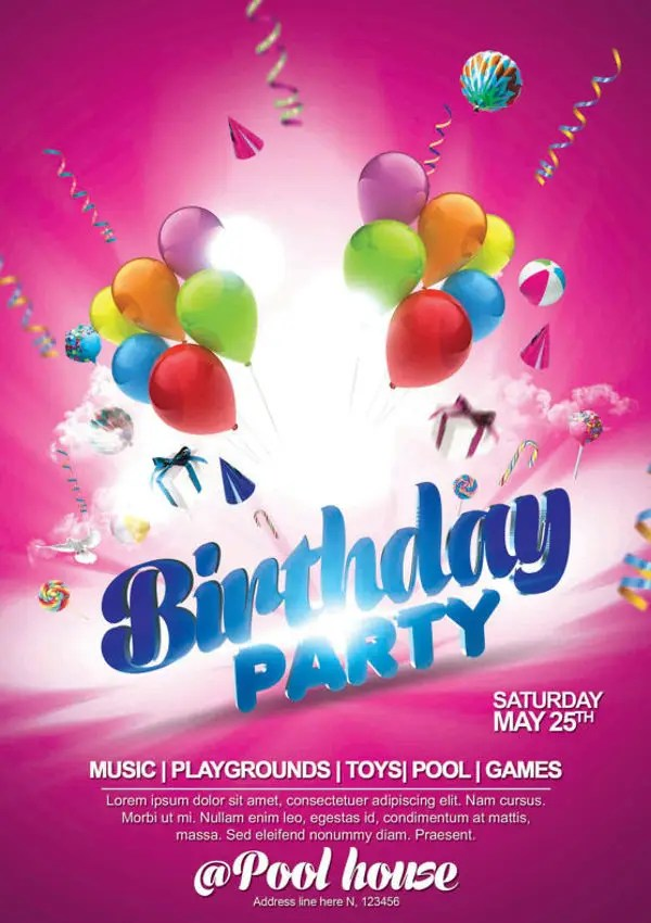 18 + Birthday Party Flyers - PSD, Word, AI, EPS Vector Free