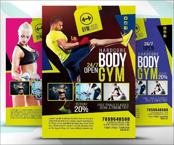 Free Fitness Flyer Templates - Fiveoutsiders