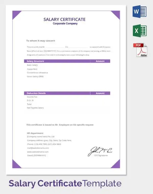 Format Of Salary Certificate Letter Choice Image - letter format - format of salary certificate letter
