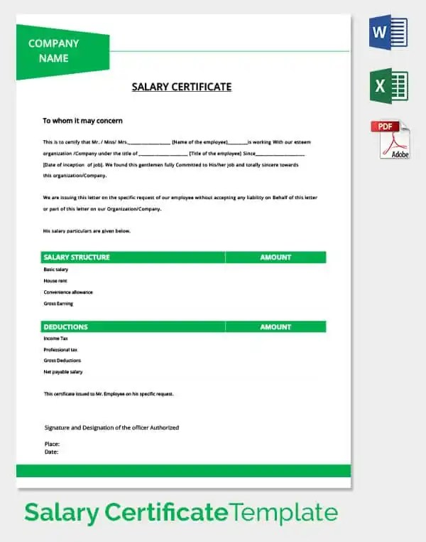 Salary Certificate Template - 25+ Free Word, Excel, PDF, PSD - professional document templates