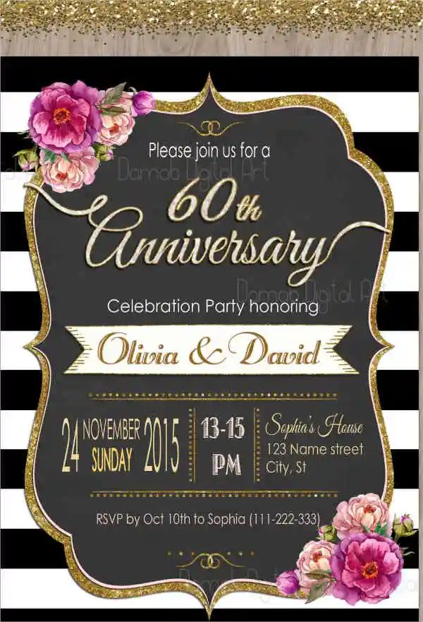 wedding anniversary invitations templates