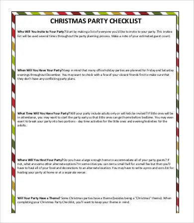 Party Checklist Templates - 11+ Free Word, PDF Documents Download - christmas checklist template