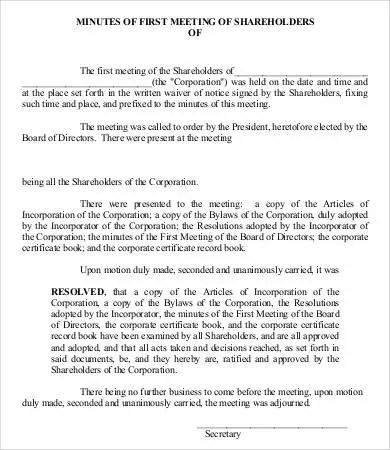 √ Shareholder Meeting Minutes Templates