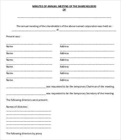 Shareholder Meeting Minutes Templates - 7+ Free Word, PDF Format