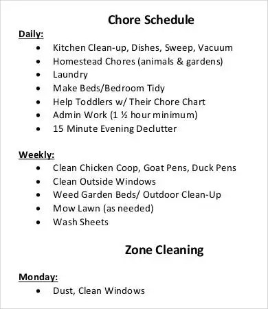 Chore Schedule Templates - 6+ Free Word, PDF Format Download Free