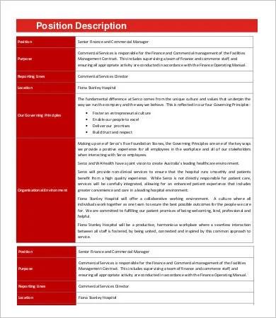 Financial Manager Job Description - 8+ Free Word, PDF Format - financial manager job description