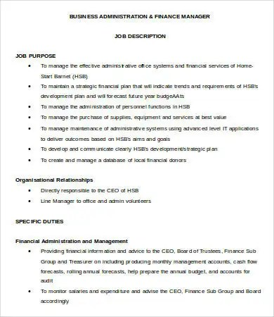 Financial Manager Job Description - 8+ Free Word, PDF Format - business manager job description