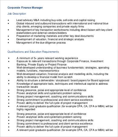 Financial Manager Job Description - 8+ Free Word, PDF Format