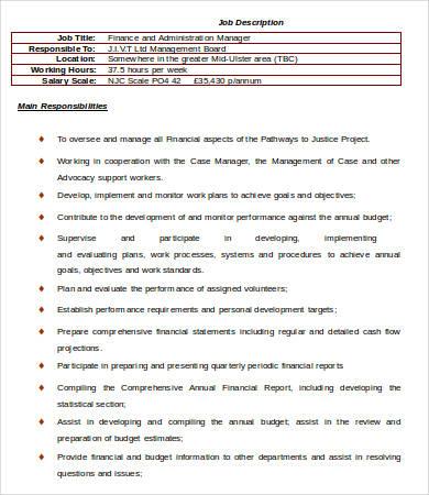 Financial Manager Job Description Campus Roles And Responsibilities