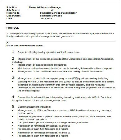 Financial Manager Job Description - 8+ Free Word, PDF Format - service manager job description