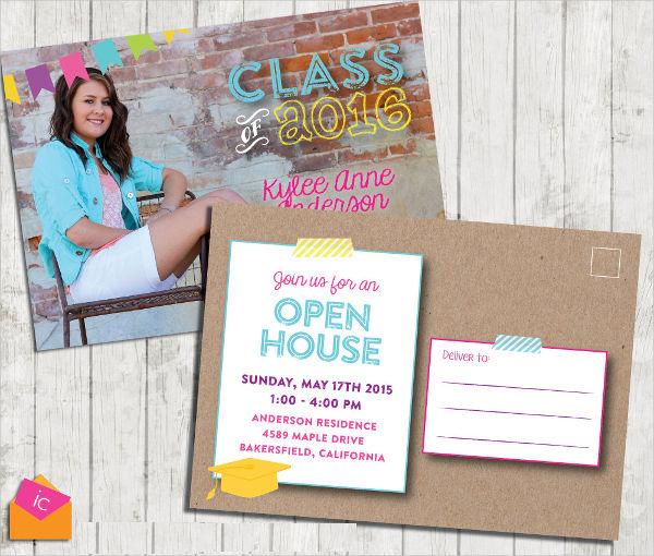 8 Graduation Invitation Postcards Designs Templates