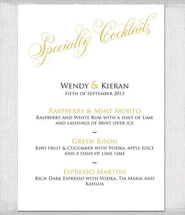 9+ Wedding Party Menu - Designs, Templates Free  Premium Templates
