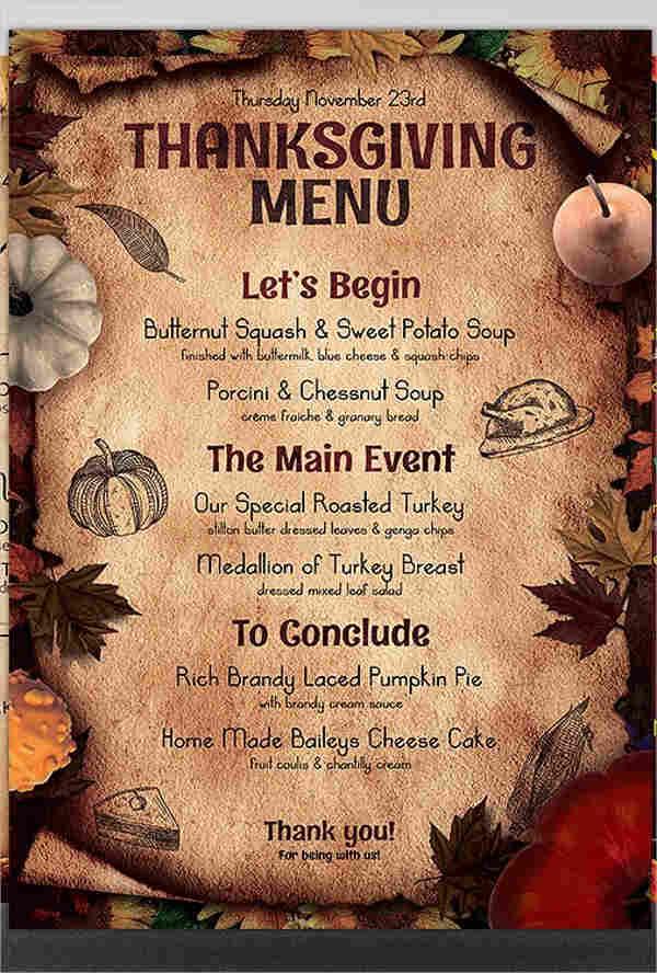 free menu template printable