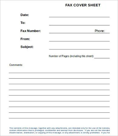Sample cute fax cover sheet