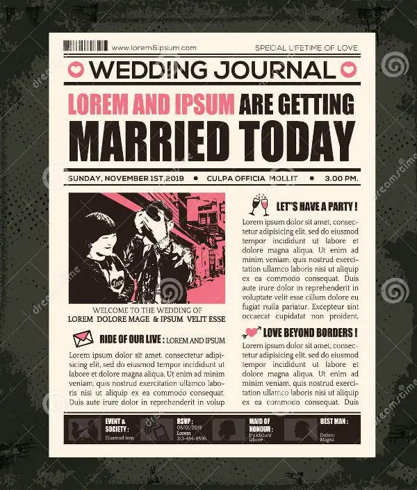 Wedding Newspaper Templates - 7+ Word, PDF, PSD, Indesign Format - newspaper wedding announcement templates