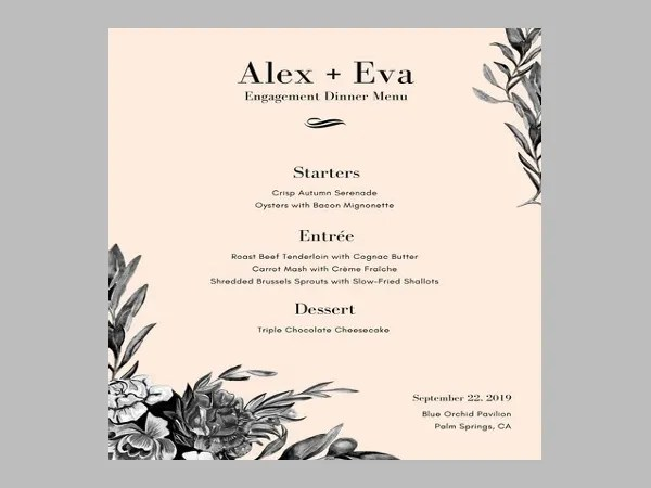 6+ Engagement Party Menu Templates - Designs, Templates Free - dinner party menu template