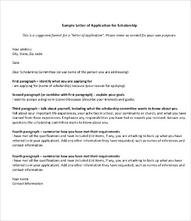 12+ Scholarship Application Letter Templates - PDF, DOC Free
