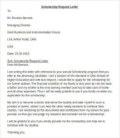 12+ Scholarship Application Letter Templates - PDF, DOC Free