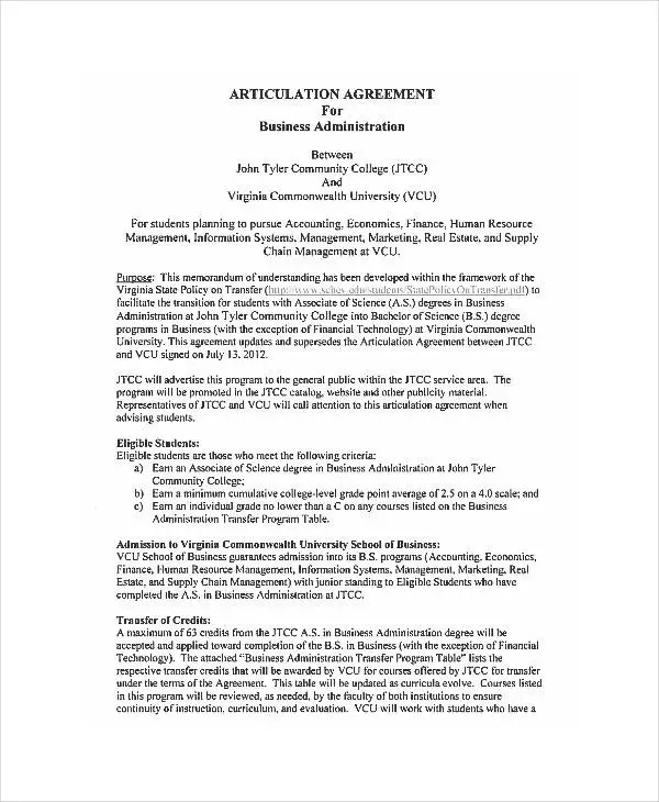 Business Administration Agreements - 6+ Free PDF Documents Download