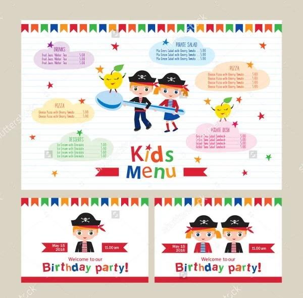 6+ Children Party Menu - Designs, Templates Free  Premium Templates